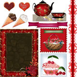 Scrapbook frame set with valentines day elements on white Royalty Free Stock Photos