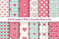 Scrapbook girl seamless pattern set stock illustration
