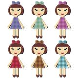 Scrapbook girls in different dresses Stock Images