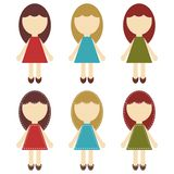 Scrapbook girls in different dresses Royalty Free Stock Photos