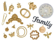 Scrapbook Gold Charms Royalty Free Stock Photography