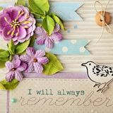 Scrapbook greeting card. Scrapbook postcard details with paper flowers Royalty Free Stock Photos