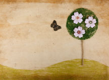 Scrapbook landscape w flower tree and butterfly Royalty Free Stock Photo