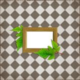 Scrapbook layout. Simple scrapbook layout with wood frame and green leaves Royalty Free Stock Images