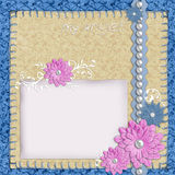 Scrapbook layout in blue and beige colors Stock Images