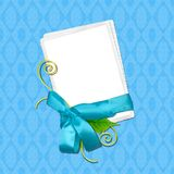 Scrapbook layout in blue color. With photo frame ribbon and leaves stock illustration