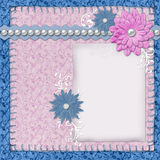 Scrapbook layout in blue and pink colors Royalty Free Stock Image