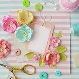 Scrapbook materials. Making of scrapbook greeting card, creative workspace Royalty Free Stock Photos