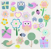 Scrapbook nature set. seamless vector background Royalty Free Stock Image