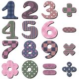 Scrapbook numbers and signs. On white background Stock Photography