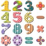 Scrapbook numbers and signs on white. Background Stock Photography