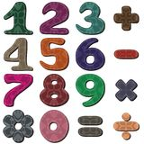 Scrapbook numbers and signs on white Stock Photos