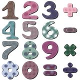 Scrapbook numbers on white. Scrapbook numbers different ornaments on white background Royalty Free Stock Image