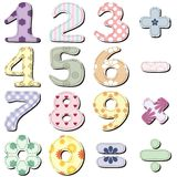 Scrapbook numbers on white. Scrapbook numbers different ornaments on white background Stock Image