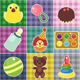 Scrapbook objects for baby on checked fabrics Royalty Free Stock Photography