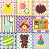 Scrapbook objects for baby on patchwork background Stock Photos