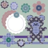 Scrapbook objects, teddy bear and flowers Stock Images