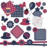 Scrapbook objects on white background Royalty Free Stock Photo