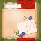 Scrapbook old paper background with dried flower Royalty Free Stock Photo