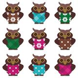Scrapbook owls on patchwork background illustration Stock Photo