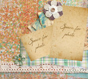 Scrapbook page. With lace,  aged paper, buttons and space for photo Stock Images
