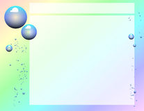 Scrapbook Page (Bubbles). A scrapbook style page featuring bubbles drifting up against a rainbow background, overlaid with a soft white transparent box for your Stock Photography