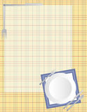 Scrapbook Page - Dinnertime. A scrapbook frame featuring a plaid tablecloth design, plates, silverware, and a light content area Stock Photography