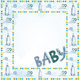 Scrapbook paper. Cute scrapbook paper for boy with baby elements Stock Photo