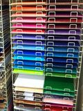 Scrapbook paper isle in craft store Stock Images