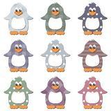 Scrapbook penguins on white background. Scrapbook penguins dffernt ornaments on white background illustration Royalty Free Stock Photos