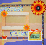Scrapbook photo frame Stock Images