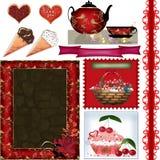 Scrapbook rama ustawia z valentines dnia elementami na bielu Zdjęcie Stock