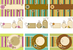 Scrapbook set. Vector Scrapbook set - frames, tag and background featuring stylized flowers