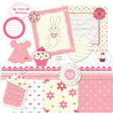 Scrapbook set for baby girl Royalty Free Stock Photos