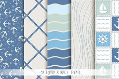 Scrapbook Set of blue and white sea patterns. Royalty Free Stock Photography