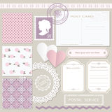 Scrapbook set with different elements. Vintage. Scrapbook set with different elements - scrapbook paper, lace, postcard, stamp, frame, paper cut heart and Stock Photography