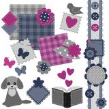 Scrapbook set with different objects Royalty Free Stock Photo