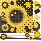 Scrapbook set with different objects Royalty Free Stock Image