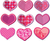 Scrapbook set of hearts in stitched textile style Royalty Free Stock Image