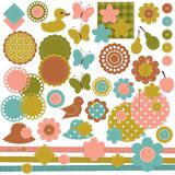 Scrapbook set of objects on white Royalty Free Stock Images