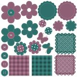 Scrapbook set of objects on white Royalty Free Stock Photos