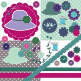 Scrapbook set of objects on white Royalty Free Stock Photo