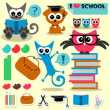 Scrapbook set school theme. Funny animals and elements vector illustration