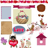 Scrapbook set with valentines day elements on white Royalty Free Stock Photos