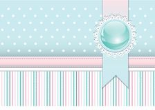 Scrapbook styled cover with badge and ribbon Royalty Free Stock Image