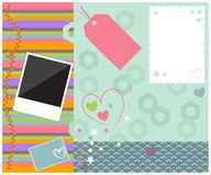 Scrapbook template layout colorful pretty royalty free illustration