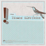 Scrapbook template. Scrapbook page that reads Always choose happiness and has a hummingbird and an exclamation mark on it Stock Photo
