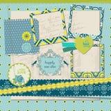 Scrapbookdesignbeståndsdelar - tappning belägger med tegel med inramar Royaltyfri Bild