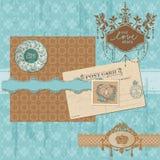 Scrapbookdesignbeståndsdelar - tappningbröllopuppsättning Royaltyfria Bilder