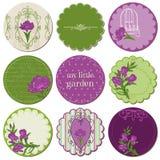 Scrapbookdesignbeståndsdelar - märker med Irisblommor Royaltyfri Bild